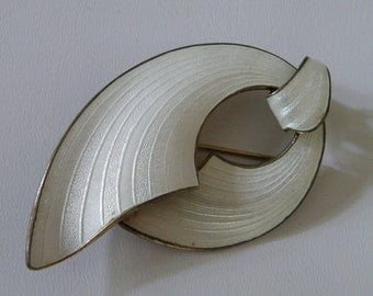 Elegant Mid-Century Finn Jensen Enamel on Sterling Brooch - 925 Norway