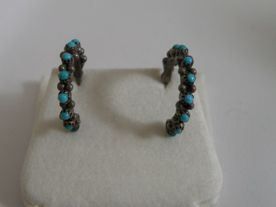 Vintage Sterling Silver Turquoise Earrings - marked 925