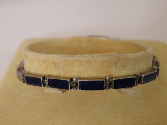 RESERVED Sterling Silver Hand Wrought Lapis Bracelet - marked 980 and 6 3/4 inches in length RESERVED