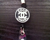 Chanel Inspired Retractable ID badge with Lanyard
