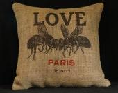 Bee Pillow Cover, Burlap Throw Pillow, Cushion Cover, Love Paris, Chair Pillow, French 18x18