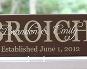 Personalized Last Name Sign. Family Wood Sign with Established Date. Great Wedding Gifts, Bridal Shower or Anniversary
