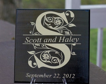 Custom Wood Tile, Personalized Family  Split Initial with First Names for Wedding, Bridal Shower or Anniversary 11 X 11