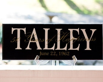 25th Wedding Anniversary or 50th Wedding Anniversary Wood Sign, Family Last Name with Saying Overlay, Established Date