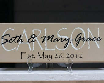 Custom Last Name Signs. Personalized Family Last Name Wood Sign. Perfect Wedding Gifts, Bridal Shower or Anniversary Gifts