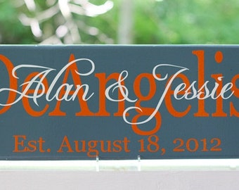 Personalized Last Name Signs with Family Established Date. Custom Wedding Gift, Bridal Shower Gift or Anniversary Gift