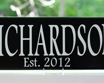 Personalized Wedding Gift Wood Sign with Family Last Name and Established Date