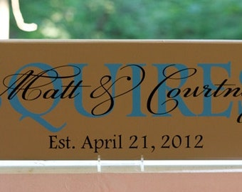 Wood Wedding Name Signs. Personalized Custom Wedding Colors. Established Date. Wedding Gifts, Bridal Shower, Anniversary