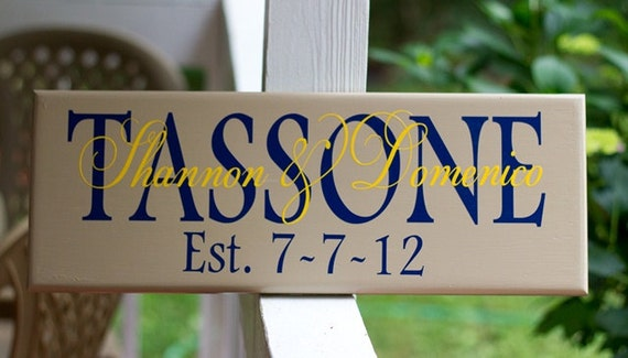 Custom Family Name Sign, Personalized Wood Sign for Wedding, Bridal Shower or Anniversary with Established Date