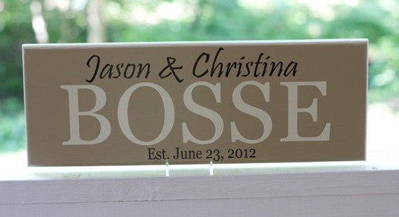 Custom Last Name Signs, Personalized Family Name Wood Sign, Established Date. Wedding Gifts, Bridal Shower or Anniversary