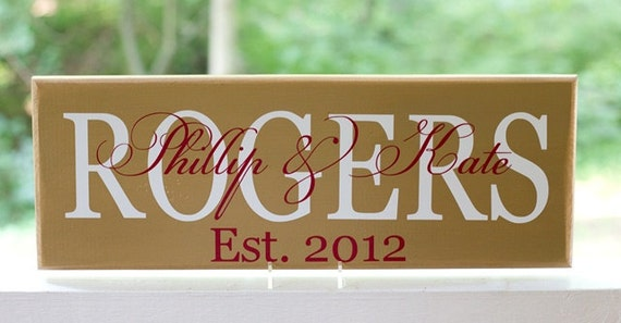 Custom Family Last Name Signs. Personalized Wood Sign. Perfect Wedding Gift, Bridal Shower or Anniversary Gift