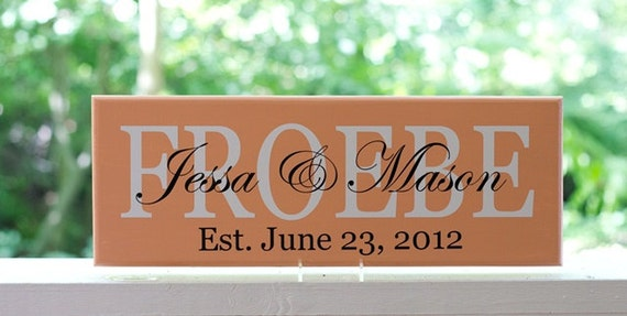 Wedding Gift Signs: Personalized Wedding Gift Wood Sign With Established Date