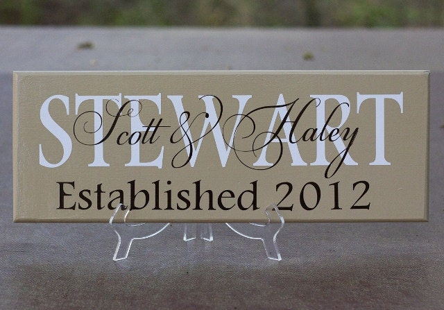 Wedding Gift Name Sign : Personalized Family Name Sign. Wood Sign with Established