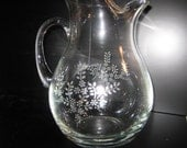 Large Etched Pitcher