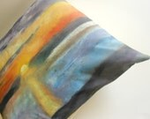 Decorative throw pillow - One of  a kind  -  Hand painted abstract landscape throw pillow.