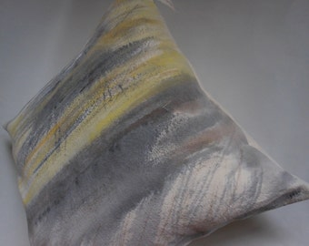 Throw Pillow - One of a kind - Hand painted abstract landscape home decor throw pillow.