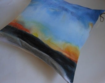 One of a kind throw pillow - Hand painted abstract landscape home decor throw pillow.