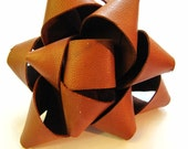 Tan Leather Rosette Brooch...
