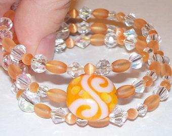 "Colorful ""Cantaloupe, I'm Already Married"" Beaded Memory Wire Bracelet"