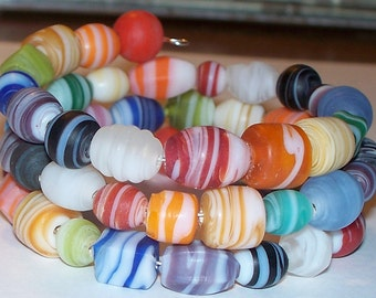 """Colorful """"It's All Part Of The Circus"""" Beaded Memory Wire Bracelet"""
