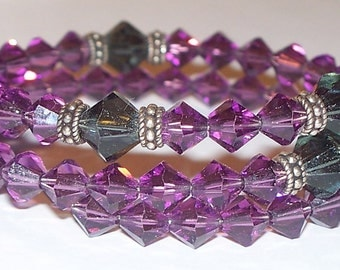 Purple & Black Swarovski Crystal Five Decade Rosary Memory Wire Bracelet with Sterling Silver Accents