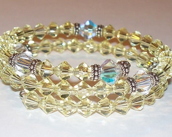 Yellow & Clear Swarovski Crystal Five Decade Rosary Memory Wire Bracelet with Sterling Silver Accents