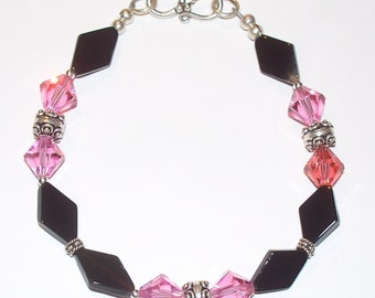 Sterling Silver Pink Swarovski Crystal, Black Onyx Bead & Sterling Beaded Single Decade Rosary Bracelet
