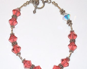 Sterling Silver Melon & Clear Swarovski Crystal and Sterling Beaded Single Decade Rosary Bracelet