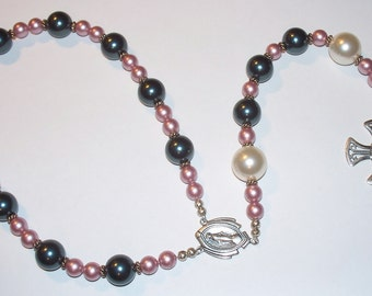 Beautiful Sterling Silver Single Decade Rosary Chaplet - Pink , Gray & White Swarovski Pearls with Sterling Connector and Crucifix