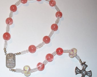 Beautiful Sterling Silver Single Decade Rosary Chaplet - Coral and White, Lampwork with Sterling Connector and Maltese Cross