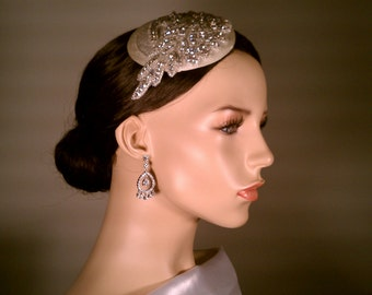 Bridal Hat  / Rhinestone Fascinator. Mini Bridal Hat / Grace