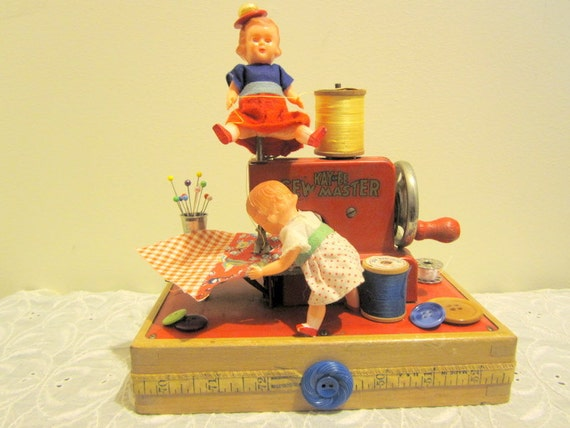 Little Red Toy Sewing Machine Assemblage Doll Art