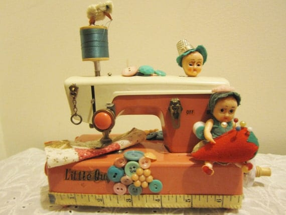 Reserved for Sheila  Little Pink Toy Sewing Machine Assemblage Doll Art