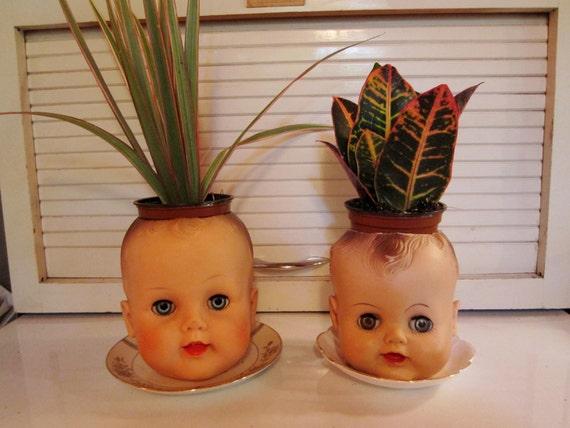 Vintage Doll Head Planter