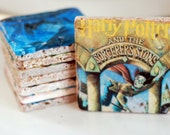 Harry Potter Book Covers Italian Marble Coasters