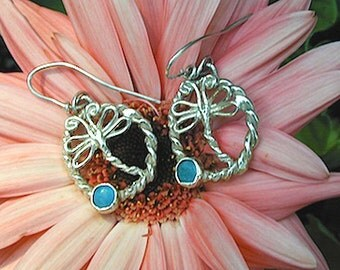 Dragonflies Sterling Silver DRAGONFLY EARRINGS WithTurquoise Stones.Drop Earrings  Created  by Elegant Insects Jewelry.One of a kind.