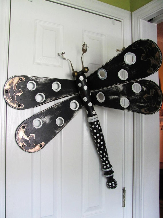 Table Leg Dragonfly Wall Art- Funky Black and White Polka Dots with Silverware Antenna