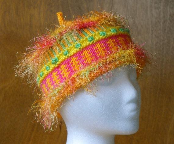 Childrens Novelty Hat Knitted Orange Bright