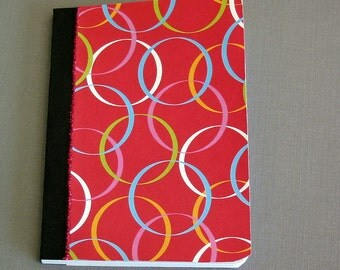 Mini Altered Composition Notebook - red with circles