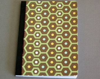 Mini Composition Note Book - altered composition notebook journal green honeycomb pattern