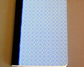 Altered composition notebook journal blue on blue geometric floral pattern