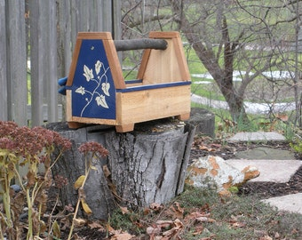 Hand painted cedar planter, tool tote