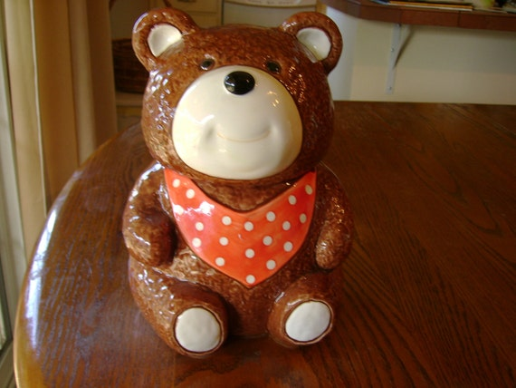 Vintage Cookie Jar Brown Teddy Bear Otagiri Japan mint condition collectible