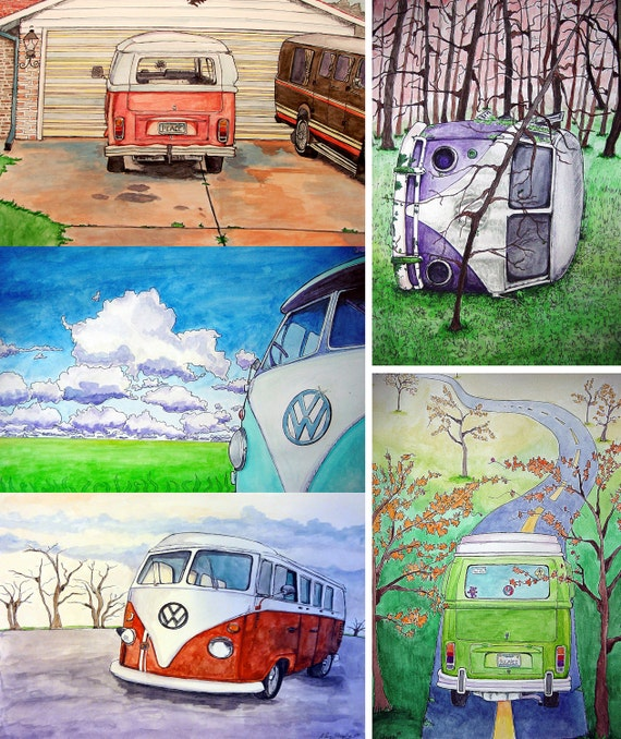 VW Bus Series Postcards (set of 5)