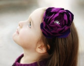 MYSTIC PURPLE Peony Flower with a sparkly Rhinestone and Pearl embellished center on a Black Glitter Headband