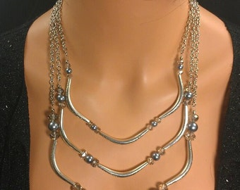 Triple Metal Necklace - By Get Your Jewlz On