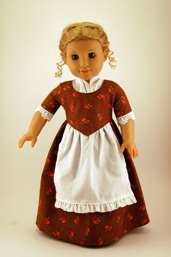 Colonial Era 18 inch doll dress - brown and rose