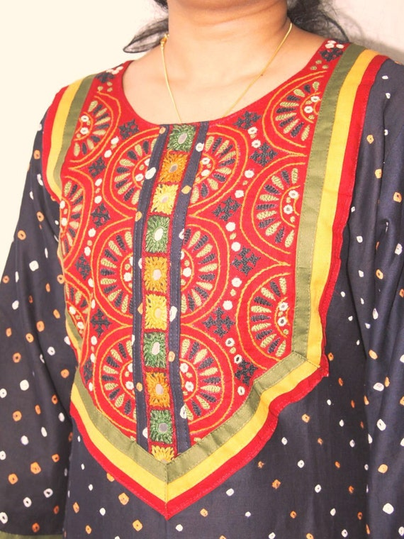 Black Bandhani of Orange and White Design Cotton Kurta Tunic Top with Unique Design Handwork and Mirror Work for Womens