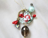 Alice in Wonderland inspired-Rococo Rose and crystal necklace