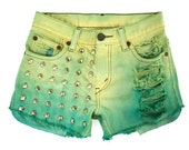 RESERVED FOR CARINA: Ombre Studded Hand Dyed Green Pastel Yellow Teal Mint Hipster Handmade Dip Dyed Boho Coachella Denim Cut Offs Shorts